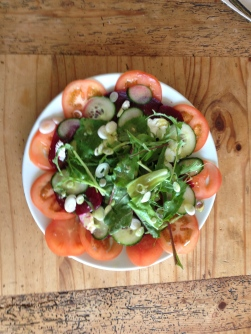 Home grown tomato, beetroot, cucumber, spring onion and mixed lettuce. With goats cheese and a sweet honey, mustard vinaigrette